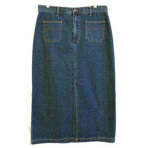 Bill Blass Vintage 70s Denim Long Skirt Slit L